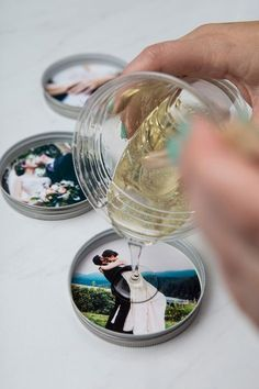 One piece mason jar lids, resin and photos make the most darling custom coasters!