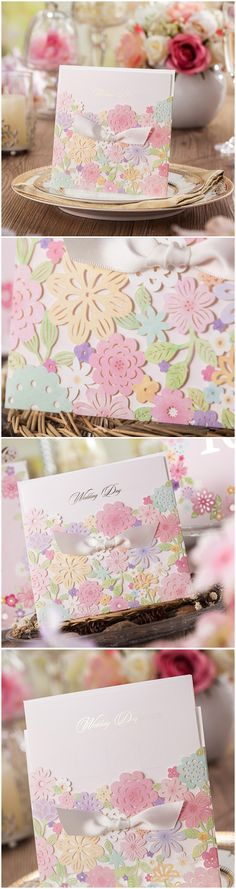 pastel colors inspired floral laser cut wedding invitations for spring and summer
