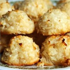 Coconut Macaroons III - Allrecipes.com (after baking, dip bottom in chocolate, then drizzle with melted caramel and sprinkle with course sea salt????)