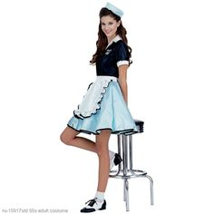 Hallowen Costume Couples Roll into Halloween with this car hop waitress costume! This retro Halloween costumes and our adult costumes are swell. We have many car hop costumes for women! Girls 50s Costumes, Halloween Costumes For Teens Girls, Cute Costumes, Adult Costumes, Costumes For Women, 1950s Costumes, Grease Costumes, Sailor Costumes, Woman Costumes