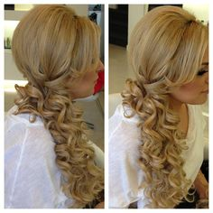Possibility for bridesmaid hair this weekend. Looser curls though.