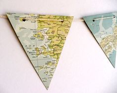 paper bunting BON VOYAGE world map - upcycled vintage paper bunting