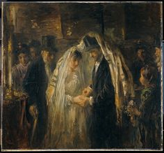 Talit as chuppah. This painting, from is in the Rijksmuseum. Judging from the groom's top hat, the couple are members of the Spanish-Portuguese Synagogue in Amsterdam. Jewish History, Jewish Art, Religious Art, Mondrian, Pablo Picasso, Arte Judaica, Wedding Painting, Wedding Art, Wedding Vintage