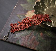 floral cuff / lace bracelet /  ELYSIA / copper bracelet / wedding jewelry /  victorian cuff / bridesmaid gift    $27