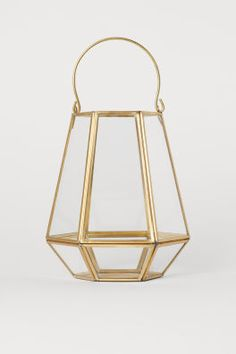 Metal Candle Lantern - Gold-colored/clear glass - Home All Large Candle Lanterns, Large Candles, Gold Lanterns, Home Interior Accessories, Grands Vases, Bottle Candles, Bottle Lamps, H&m Home, Dream Home Design
