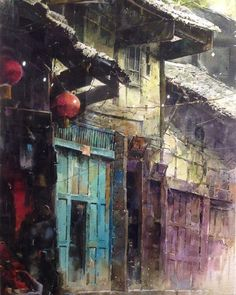 Hseih Ming Chang A detail of a watercolor urban painting. Art Aquarelle, Watercolor Artists, Watercolor And Ink, Watercolor Architecture, Watercolor Landscape, Watercolour Painting, Painting & Drawing, Watercolors, Urban Painting