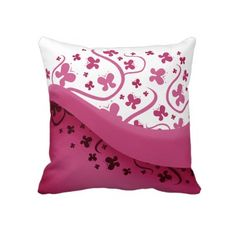 Pink and White Butterflies Throw Pillow