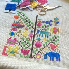 Cross stitch from vintage Ondori pattern book. Stitched by Satsuma Street.