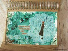 Dagmara Kos - art journal page - TCW Trapezoid Flower Art Journal Pages, Art Journals, Stencil Art, Stencils, Collage Art, Collages, Mixed Media Art, Altered Art, Kos