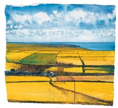 Towards Lands End From Carn Bosavern, Warm Sunshine. January 2001, Kurt Jackson, 29 x 31 cm., Cornwall, UK.