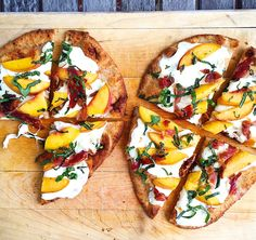 Who wants to deal with rolling out pizza dough when you can use store-bought naan?  Get the recipe: Flatbread with Peach, Prosciutto, and Mozzarella   - Delish.com