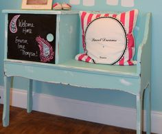 Love the chalkboard door on this vintage bench! #vintage #nursery
