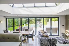For this project we replaced a timber conservatory with a contemporary Orangery with roof lantern and Solarlux bi-folding doors. Open Plan Kitchen Diner, Kitchen Diner Extension, Open Plan Kitchen Living Room, Open Plan Living, Living Room Modern, Living Room Designs, Orangery Extension Kitchen, Kitchen Dining, Orangery Roof