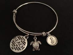 BEACH Adjustable Stainless Steel Bangle Bracelet with Choice of Beach Themed Charm and Initial Charm by JudisEtsyTreasures on Etsy