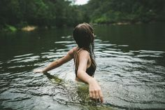 girl girls nature inspiration life dream lake water brown hair brown long hair wood woods forest sea river freedom free swim alone loneliness skinny girly ...