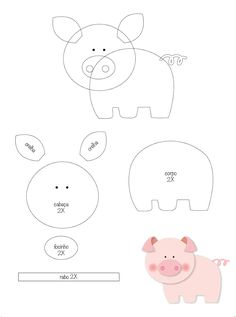 This adorable set of 2 little pigs hair clips are made with felt and attached to a barrette clip. Felt Patterns Free, Felt Animal Patterns, Quiet Book Patterns, Applique Patterns, Stuffed Animal Patterns, Pig Crafts, Preschool Crafts, Felt Crafts, Crafts For Kids