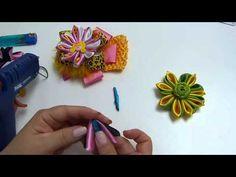 como hacer petalos en tela kanzashi para armar accesorios para el cabello - YouTube
