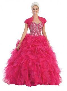 Long Quinceanera Big Sequins Top Short Sleeve Jacket Ball Gown