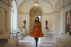 {PUMPKIN SPICE} Vintage style fall outfit featuring Lindy Bop & Unique Vintage & BAIT Footwear at The Mount, Berkshires, MA TheBygoneGal.com Vintage Fall, Unique Vintage, Vintage Style, Lindy Bop Dress, Modern Vintage Fashion, Fall Outfits, Autumn Fashion, Classy, Glamour