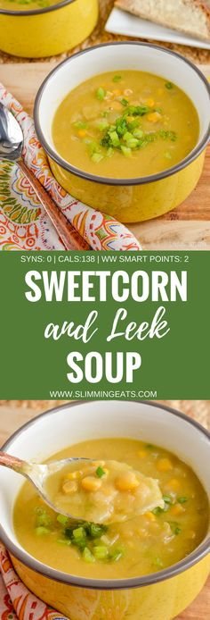Slimming Eats Syn Free Sweetcorn and Leek Soup - gluten free, dairy free, vegan, Slimming World and Weight Watchers friendly slimming world diet plan Slimming World Soup Recipes, Vegan Slimming World, Slimming Eats, Slimming World Soup Speed, Slimming World Lunch Ideas, Slimming Workd, Slimming World Dinners, Leek Recipes, Healthy Soup Recipes