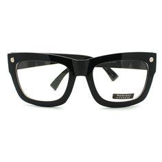 Black Oversized Thick Frame Clear Lens Glasses Frame