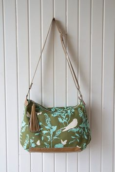 Zippered Cross Body Bag in Joel Dewberry Swallow Study in Forest Green with Tan Cowhide Leather accents Everyday Bag, Beautiful Bags, Cowhide Leather, Cotton Linen, Cross Body, Crossbody Bag, Shoulder Bag, Zipper, Bags
