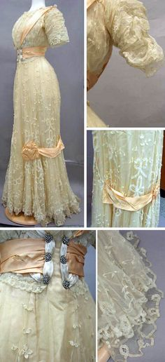 ~Beige lace and satin dress, circa 1890s. Trim is pale orange satin. Panels from the waist over the shoulder from front to back. Satin waist cummerbund with rhinestone buttons front and back. Gathered elbow-length sleeves. Skirt has satin trim that ends in bows on either side - front and back. Slight train. Via North Carolina Museum of History~