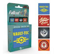 Fallout 4 Set Of 4 Coasters Retro Drinks Mat Nuka Cola Video Game Vault Tec Fallout, Funko Pop, Vault Tec, Gamer Room, Madrid Barcelona, Vaulting, Coaster Set, Some Fun, Video Game