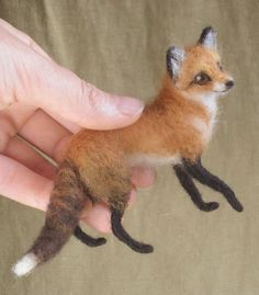 Miniature needle felted red fox by Ainigmati on Etsy, $110.00