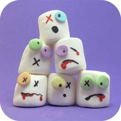 zombie marshmallows for Halloween