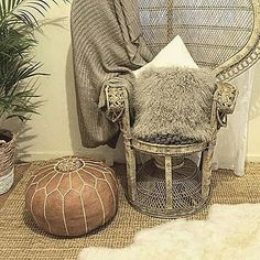 Gorgeous inclusion of our Tan moroccan pouffe here alongside the sheepskin rug & peacockchair. Styled by @letitiacarlgabe. Pouffes available online for just $149, our sheepskins start at $99 >>>>>>>>>>>>>>> maisonandmaison.com.au