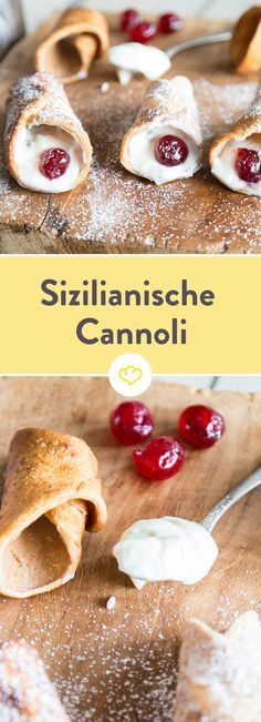 Sweet dough rolls from the south: Sicilian cannoli- Süße Teigröllchen aus dem Süden: Sizilianische Cannoli You can simply bring these delicious Sicilian cannoli with a sweet ricotta filling home and give your taste buds a lot! Italian Cookie Recipes, Italian Desserts, Pastry Recipes, Egg Free Desserts, Holiday Desserts, Italian Pastries, Sweet Pastries, Ricotta, Dessert Sauces