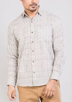 Block printed cotton shirts tops and shirt BS Each 4 This shirt is constructed from a handle cotton with block prints pattern .This cotton shirts ensure comfort and fit that easily outshines others.*classic collar shirt *semi formal shirt *Full sleeves *Front buttoned