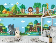 Rainforest Animal World Lion Giraffe Flamingo wallpaper wall murals Flamingo Wallpaper, Paper Wallpaper, Self Adhesive Wallpaper, Custom Wallpaper, Wall Wallpaper, Wallpaper Paste, Adhesive Vinyl, 3d Wall Murals, Door Murals