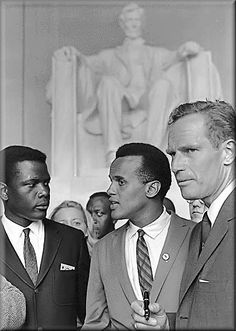 Sidney Poitier, Harry Belafonte, and Charlton Heston at the 1963 March on Washington                                                                                                                                                      More