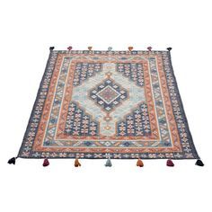 Kalgan Hand Woven Cotton Rug Blue & Multicoloured 160 x 230 cm Woven Rug, Hand Knotted Rugs, Loom Weaving, Hand Weaving, Mat Online, Hand Tufted Rugs, Home Rugs, Types Of Rugs, Rug Cleaning