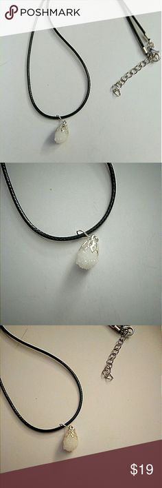 NWOT - Snowball Quartz on Faux Satin Cord Necklace New without tags... Snowball Quartz on a faux satin cord. Black satin like cord measures 17 inches from end to end with 2 inch chain extension with Key drop.   I use Sterling Silver Plated stainless steel or Sterling Silver Plated copper materials only in my jewelry.  Genuine Semi-precious Stone Coastal Focals - Quartz Collection Jewelry Necklaces