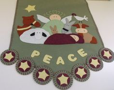 """Hand Stitched x Folk Art - Primitive """"Let Heaven and Nature Sing"""" Wool Felt Table Runner - Christmas Decor - Wool Applique Christmas Runner, Felt Christmas, Christmas Crafts, Christmas Decorations, Table Runner And Placemats, Table Runners, Diy Nativity, Wool Felt, Felted Wool"""