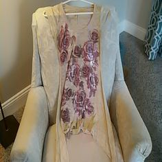 Boutique tunic Tan, burnout tunic with flower design. Tops Tunics