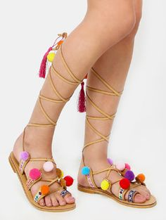 a60630260413 Tribal Pom Pom Lace Up Sandals MULTI Kids Sandals