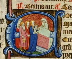 Decorated initial from 'The Chicheley Breviary' (early15th century), LPL MS 69 depicting the Presentation.