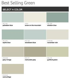 Popular Green Paint Colors paint strips, wythe blue, pallidium, rainwashed | for the home
