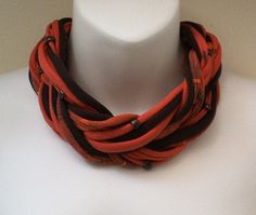 Multi Strand Beaded Scarf Necklace Red & Black 563 by AnniesCloset, $25.00