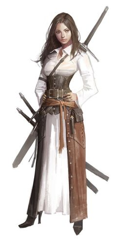 Female Fighter Mercenary - DND D&D fantasy - Character Design 3d Fantasy, Fantasy Warrior, Fantasy Women, Medieval Fantasy, Fantasy Girl, Dark Fantasy, Female Fantasy Names, Elf Warrior, Fantasy Princess