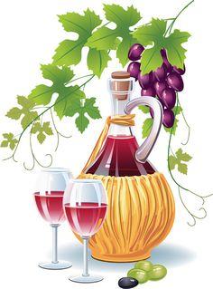 Retro Wine and food design vector 01 Food Clipart, Clip Art Pictures, Wine Art, Ball Jars, Illustration, Wine Cheese, Food Design, Wine Recipes, Grape Vines