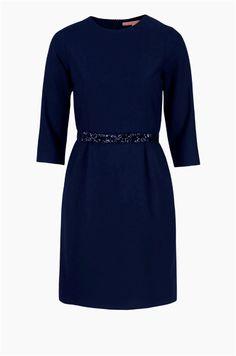 Vilagallo vestido azul marino manga larga con cinturón. Nueva colección Otoño Invierno.