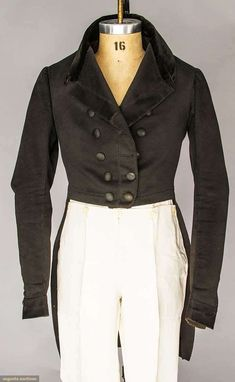 Tail Coat (image 1) | 1840 | wool, velvet | Augusta Auctions | April 20, 2016/Lot 175