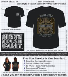 The Great Gatsby, Delta Zeta, Crush Party Shirt