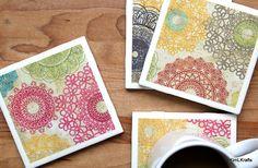 Vintage Coasters  Coasters  Drink Coasters  Tile Coasters