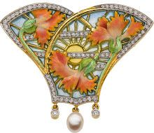 Diamond, Freshwater Cultured Pearl, Enamel, Gold Pendant-Brooch, Masriera. The pendant-brooch features full-cut diamonds, enhanced by a freshwater cultured pearl, accented by plique-à-jour enamel and enamel applied on 18k gold.